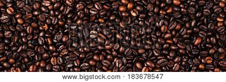 Coffee beans background macro. Dark Roasted coffee beans texture for your design with copy space