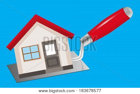 The concept of construction and home repairs. The house stands on the trowel on a blue background. The logo for service. Vector illustration.