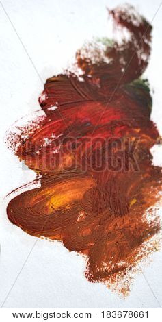 Reddish brown spot Oil paint on a white background isolated smeared. Abstract creative background