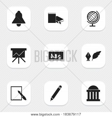 Set Of 9 Editable Education Icons. Includes Symbols Such As School Board, Bookmark, Literature And More. Can Be Used For Web, Mobile, UI And Infographic Design.
