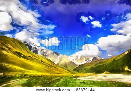Colorful painting of mountain landscape, Upper Svanetia, Georgia