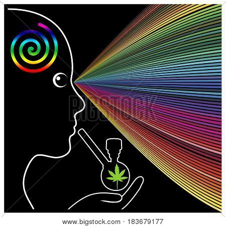 Mind Expanding Cannabis. Woman experiencing the psychedelic effects of marijuana on her brain