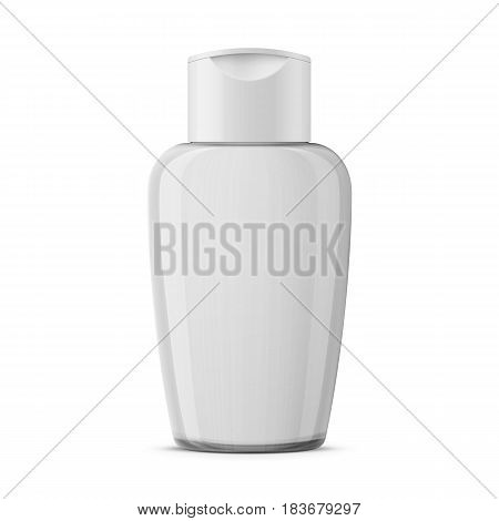 Oval clear plastic cosmetic bottle with snap hinge push on valve cap for lotion, cleaner, makeup or nail polish remover. Realistic packaging mockup template. Front view. Vector illustration.