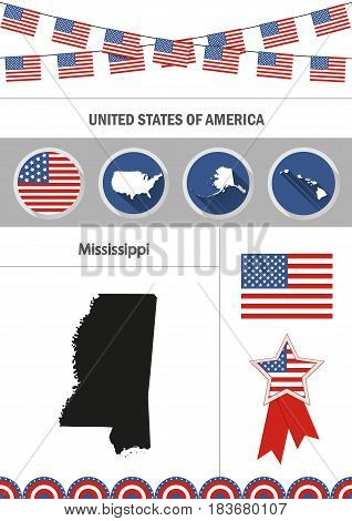 Map of Mississippi. Set of flat design icons nfographics elements with American symbols.