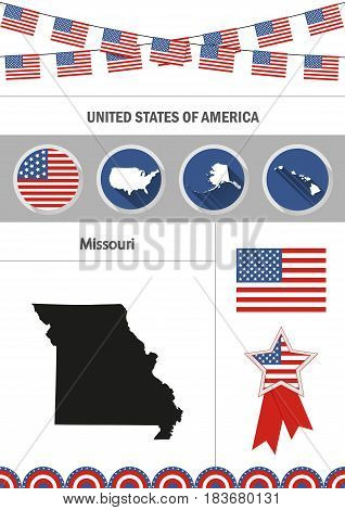 Map of Missouri. Set of flat design icons nfographics elements with American symbols.
