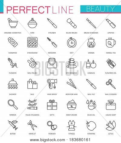 Spa Beauty and cosmetic thin line web icons set. Outline icon design