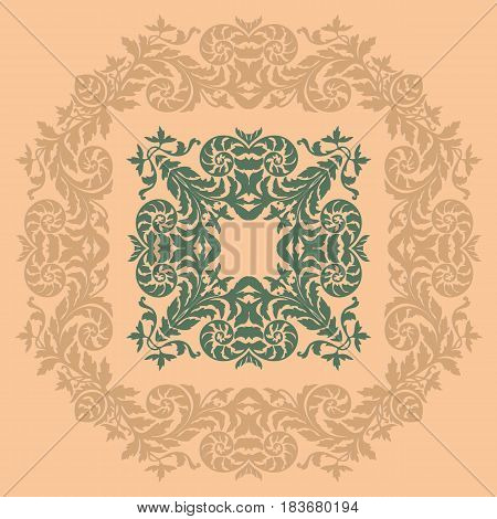 Decorative empty design ornate floral design element. Round baroque frame.