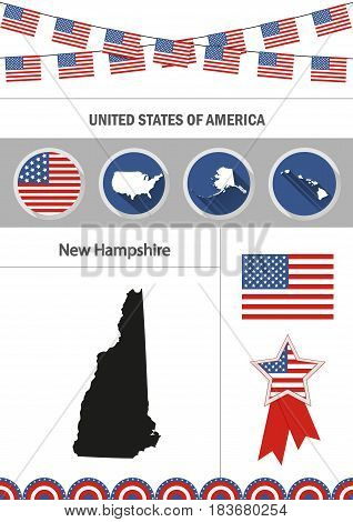 Map of New Hampshire. Set of flat design icons nfographics elements with American symbols.