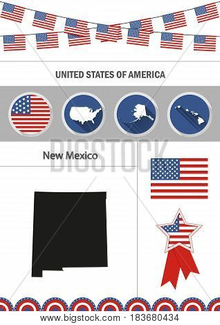 Map New Mexico Set Vector Photo Free Trial Bigstock