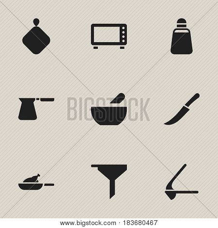 Set Of 9 Editable Meal Icons. Includes Symbols Such As Soup, Paprika, Crusher And More. Can Be Used For Web, Mobile, UI And Infographic Design.