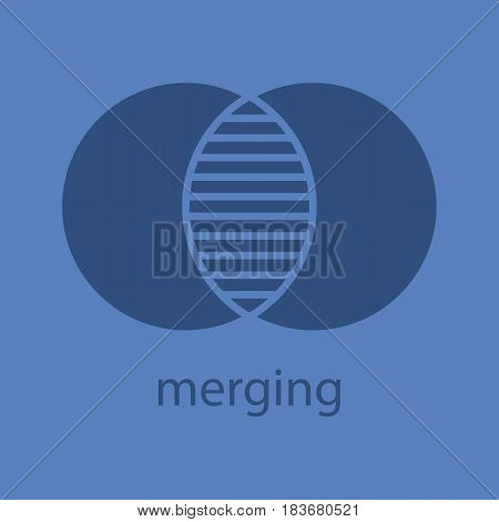 Merging glyph color icon. Silhouette symbol. Cell absorption. Integration abstract metaphor. Negative space. Vector isolated illustration