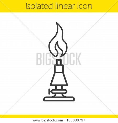 Chemical lab burner linear icon. Thin line illustration. Contour symbol. Vector isolated outline drawing