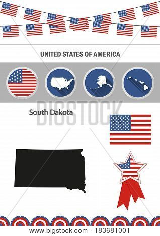 Map of South Dakota. Set of flat design icons nfographics elements with American symbols.