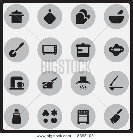 Set Of 16 Editable Cook Icons. Includes Symbols Such As Utensil, Pot-Holder, Crusher And More. Can Be Used For Web, Mobile, UI And Infographic Design.