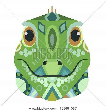 Iguana Head Logo. Lizard Vector decorative Emblem isolated