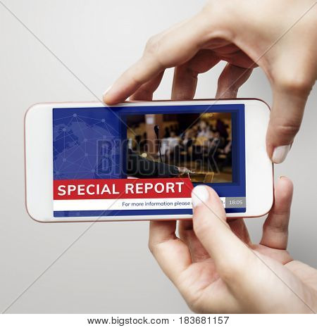 Graphic of global hot news in special report on mobile phone