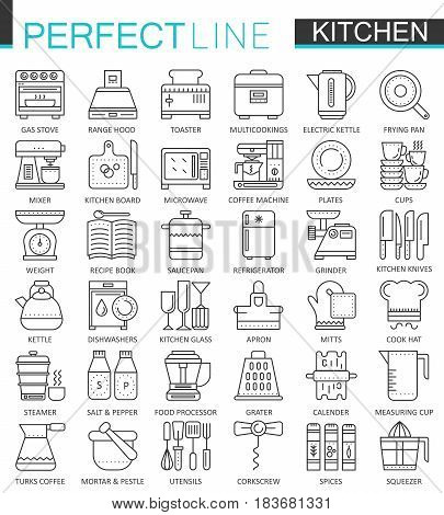 Cooking and kitchen outline concept symbols. Perfect thin line icons. Modern linear style illustrations set