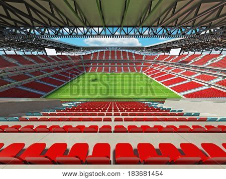 Modern Football Stadium With Red Seats For Fifty Thousand Fans - 3D Render