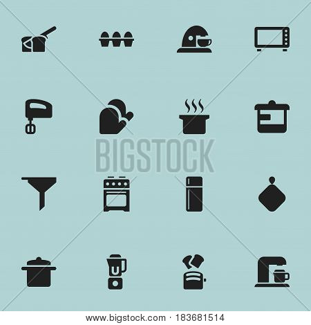 Set Of 16 Editable Cook Icons. Includes Symbols Such As Filtering, Bakery, Agitator And More. Can Be Used For Web, Mobile, UI And Infographic Design.