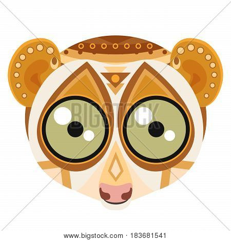 Lemur head Logo. Monkey vector decorative emblem isolated