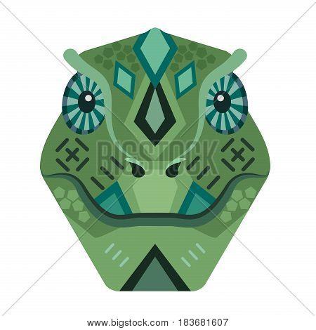 Lizard Head Logo. Iguana vector decorative Emblem