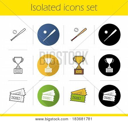 Baseball icons set. Flat design, linear, black and color styles. Softball bat and ball, game tickets, winner's gold cup. Isolated vector illustrations