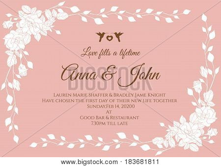 Wedding card - White abstract rose floral frame on rose pink background vector template design