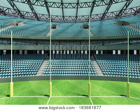 3D Render Of A Round Australian Rules Football Stadium With  Sky Blue Seats And Vip Boxes
