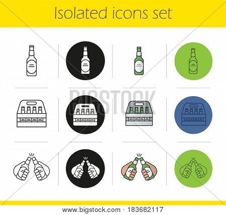 Beer icons set. Linear, black and color styles. Toasting beer bottles in hands, bottle, box. Isolated vector illustrations