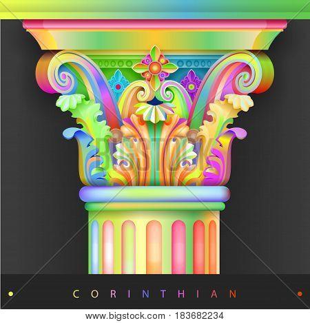 Bright colored capital of the Corinthian column. Installation. Vector graphics