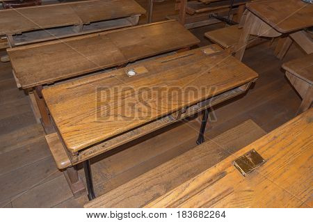 Nice Old historic classroom with school desks.