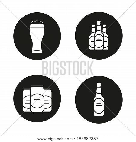 Beer icons set. Beer bottles, full foamy glass and cans. Vector white silhouettes illustrations in black circles