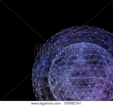 Abstract blue network globe. Technology concept of global communication. 3d illustration