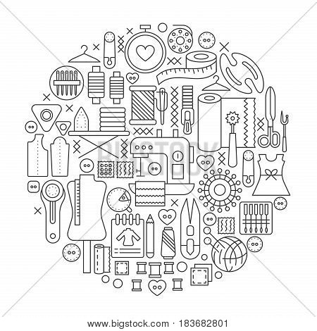 Sewing tools concept in circle - concept line vector illustration for cover, emblem, badge. Cutting supplies outline icons set