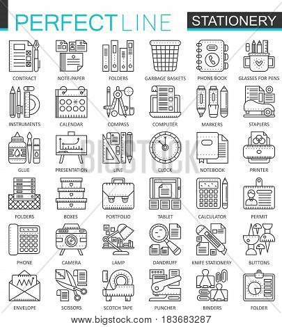 Office stationery outline concept symbols. Perfect thin line icons. Modern linear style illustrations set