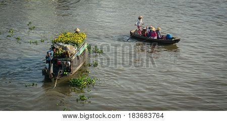 Wooden Boats On Mekong River In Southern Vietnam