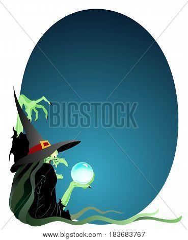 Storybook witch casting a spell, with copy space