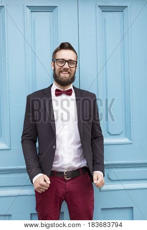 Portrait of a bearded young handsome man on his wedding day