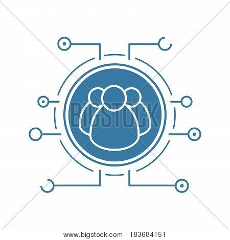 User group flat linear long shadow icon. Networking. People in microchips pathways. Vector line symbol