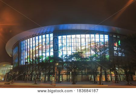TAIPEI TAIWAN - DECEMBER 7, 2016: Taipei Arena. Taipei Arena is an indoor sporting arena located in Songshan District built in 2006