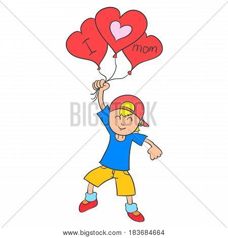 Collection stock boy with balloon for mother vector art