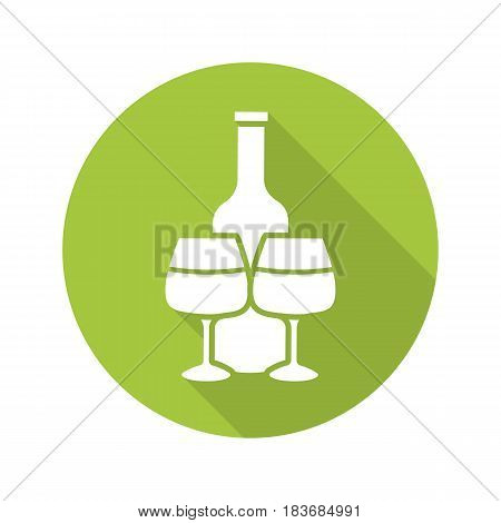 Wine bottle and glasses. Flat design long shadow icon. Vector silhouette symbol