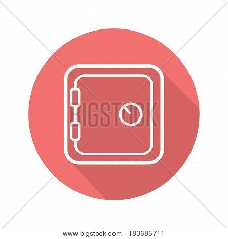 Bank vault flat linear long shadow icon. Safe deposit box. Vector line symbol