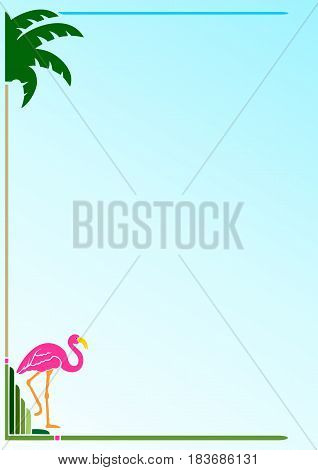Art Deco Border With Flamingo, for stationery