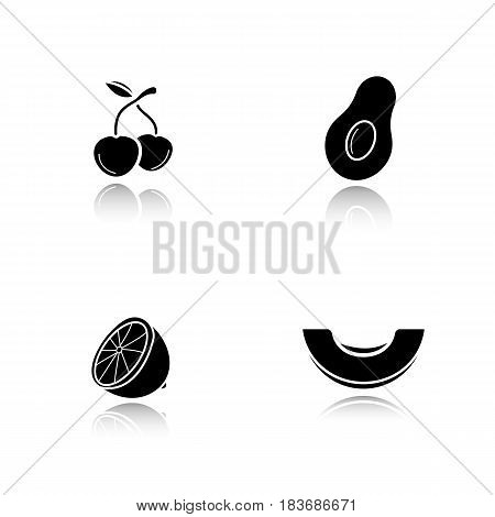 Fruit drop shadow black icons set. Berries, avocado, lemon, melon. Isolated vector illustrations