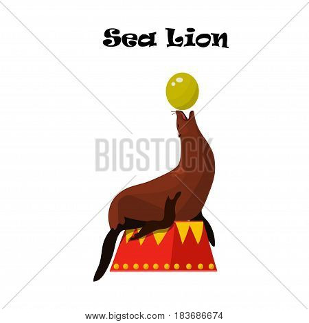 Very high quality original trendy vector illustration of Sea Lion or seal balancing a ball on its nose