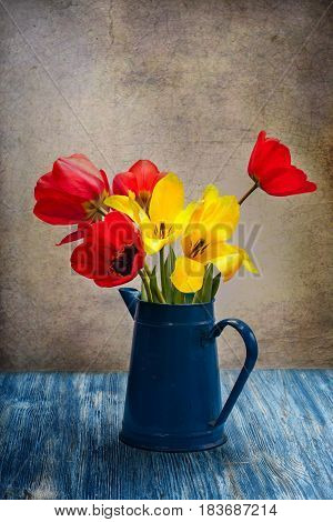 Still life with pink tulips in the vase