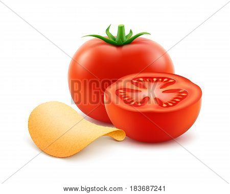 Vector Potato Crispy Chips with Red Tomato Close up Isolated on White Background