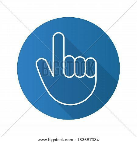 Attention hand gesture. Flat linear long shadow icon. Point up. Vector line symbol