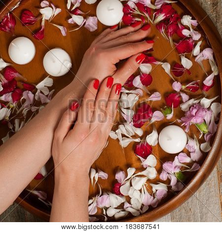 Spa Procedure. Beautiful Woman's Hands In Bowl Of Water